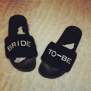 Shoes - Bride to be glam slippers for indoor outdoor wear